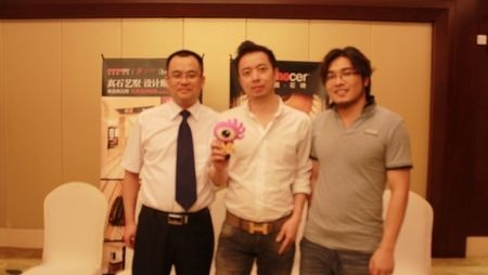 米洛西石砖苏州总经销史明清(左)、总经理杨加良(中)、策划总监肖洒(右)