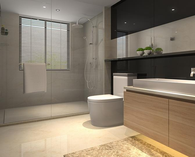 现代卫浴间-米洛西米黄