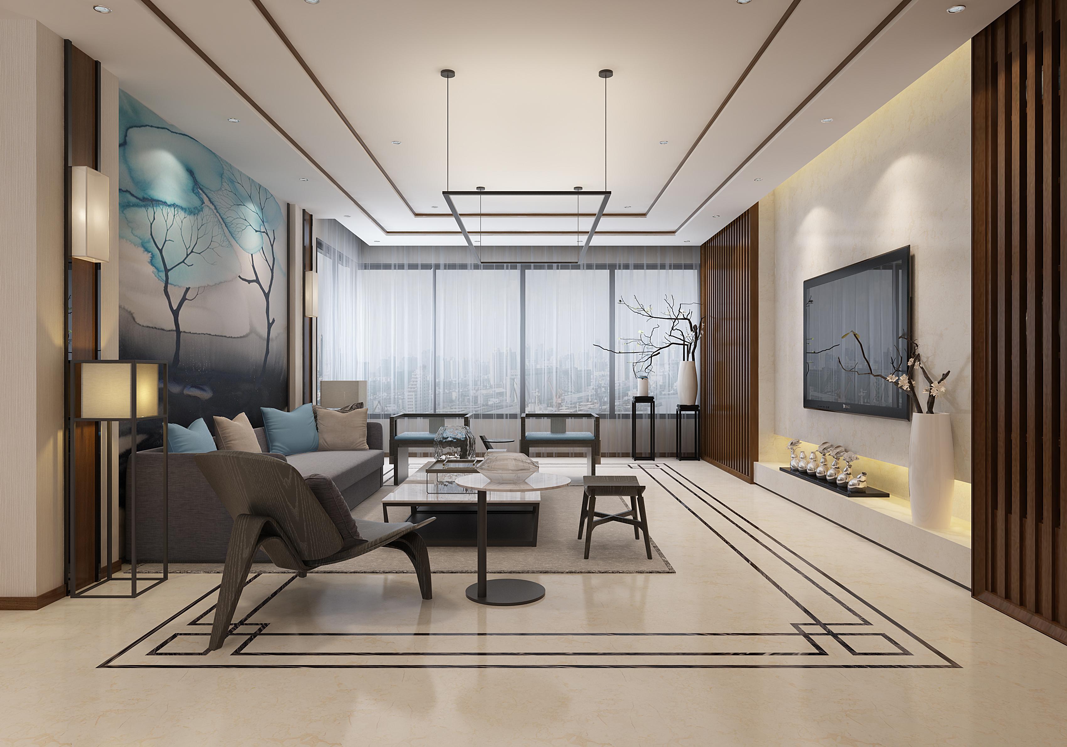 中式客厅-米洛西樱花