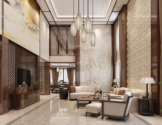 中式客厅-江崖海水